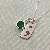 Semi-colon Necklace with Coloured Cubic Zirconia Stone