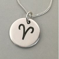 Aries Star Sign Symbol Engraved Necklace